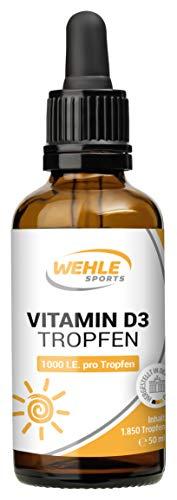 Vitamin D3 50ml (1850 Tropfen) - 1000 IE Vitamin D je Tropfen - in MCT-Öl aus Kokos gelöst - Laborgeprüft. Ohne Zusätze. Hergestellt in DE -