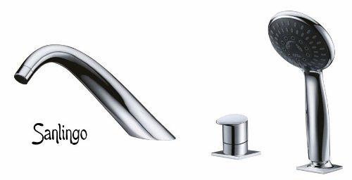 Design 3 Loch Armatur mit Handbrause für Badewanne Sanlingo Chrom ISEO Horn