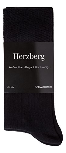 Herzberg Business Socken Damen/Herren Baumwolle, 5 Paar, schwarz, Größe 35-38 (Nahtlose Damen-socken)