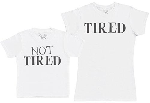 Not Tired & Tired - regalo para madres e hijos - camiseta de niño y camiseta de mujer - Blanco - S & 3-4 años
