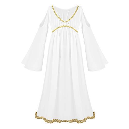Mädchen Göttin Kostüm - iixpin Mädchen Göttin Kostüm Weiß Trägerlose Schulter Kleid Langarm Kleider mit Trompetenärmeln, Gr.92-164 Weiß 104-110