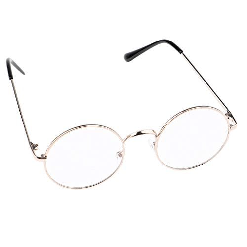 IPOTCH Metall Frame Runde Brille Retro Metall Klare Linse Brille - Gold