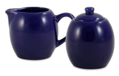 Royal Blue Ceramic Creamer and Sugar Service Set with Lid by Metropolitan Tea Royal Blue Creamer