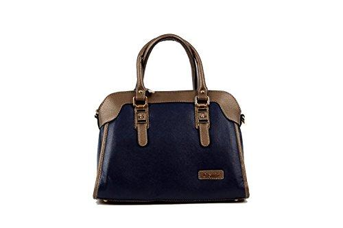 Tasche Damentasche Handtasche Luxus Taymir Schlangenhaut 2 Jahre Garantie Blau-Gold