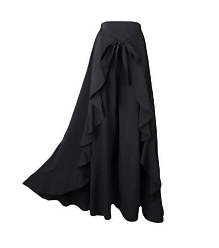 Donna Gonna Pantalone Eleganti A Vita Alta Puro Colore Irregolare con Volant Gonna Lunga Moda Giovane Casual Gonne Lunghe Pantalone A Pieghe Abbigliamento Ragazza