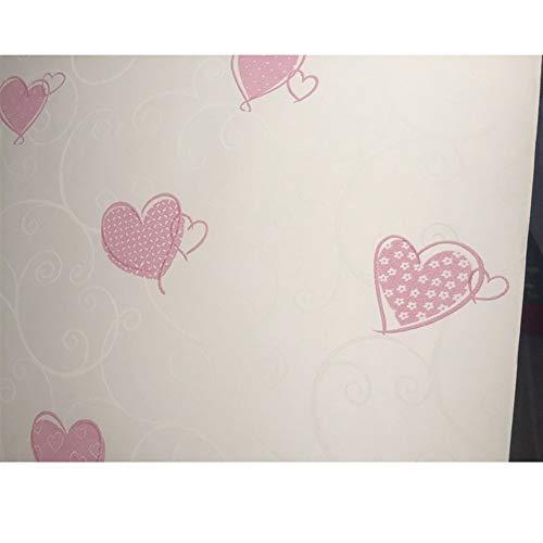 Carta da parati autoadesiva della decorazione della camera da letto della ragazza di rosa della carta da parati del modello del cuore impresso dolce 3d del fumetto carta da parati autoadesiva carta da