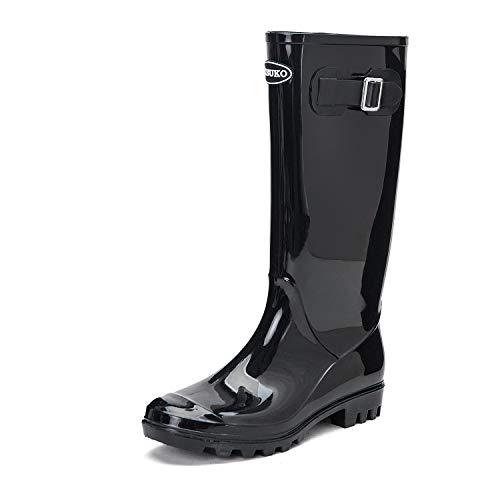 DKSUKO Damen Langschaft Gummistiefel Regenstiefel Flach Kniehoch Stiefel Wellies Wellington Boots Women (41 EU, Schwarz) Wellington Boot