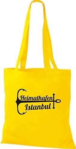 ShirtInStyle Stoffbeutel Baumwolltasche Heimathafen Istanbul gelb