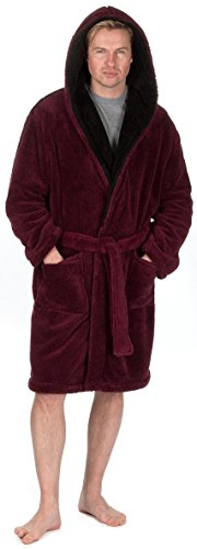 michael-paul-mens-hooded-soft-snuggle-fleece-dressing-gown-medium-burgundy-black