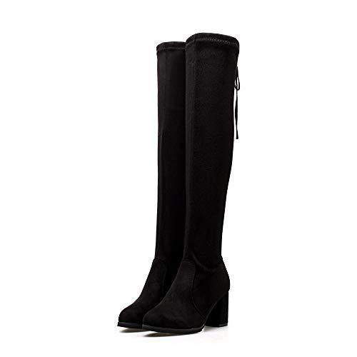 Hffan Damen Overknee Trend Hohe Stiefel Bootsschuhe Boots Winterstiefel Lederstiefel Blockabsatz Eng Stiefel Damenschuhe Stiefel Stiefeletten Damenstiefel Schneestiefel(Schwarz,37EU)