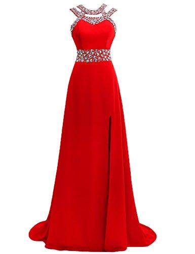 Damen Ballkleider Lang Abendkleider Festkleider Hochzeitskleid Chiffon A Linie Rot EUR38