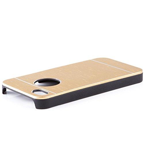 Apple iPhone 4 / 4S   iCues Alu Caso spazzolato nero   [Protettore che include uno schermo] protettiva della pelle Metallizzato Metallo di alluminio di CNC di protezione Coperchio Coperchio Custodia C Oro