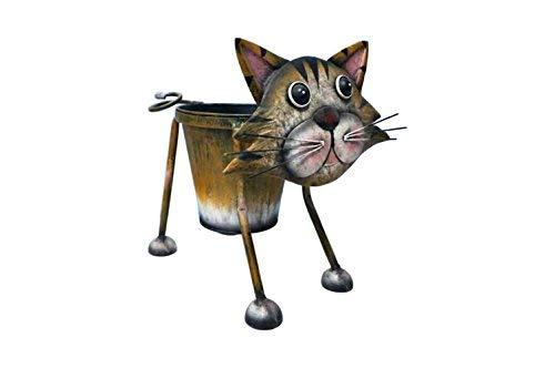 Perry Hinges Lustige und süße Wackel-Katze, aus Metall, als Blumentopf