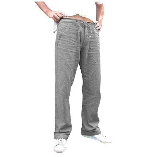 Pantalon Homme Lin,SANFASHION Pantalons de survêtement Casual Solide Pantalon Hommes Mode, Pantalon de Jogging Danse,Pantalons Homme Grande Taille Loose Taille Elastique