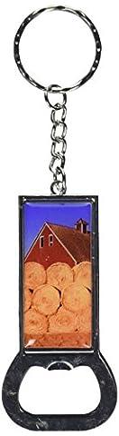 Bauernhof, Scheune, Heuballen Bottlecap Schlüsselanhänger mit Ring-Öffner
