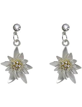 Edle Trachtenschmuck Dirndl Ohrstecker - matt silberfarbenes Edelweiss - Ohrringe mit Crystal klaren Strass Kristallen
