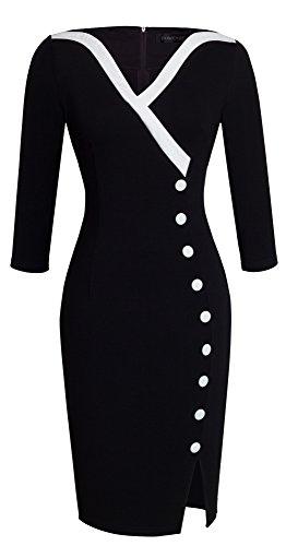 HOMEYEE Frauen Elegante V-Ausschnitt Big Button Hem Spalte schlanke Bodycon Casual Vintage Kleid B335(EU 44 = Size XXL,Schwarz)