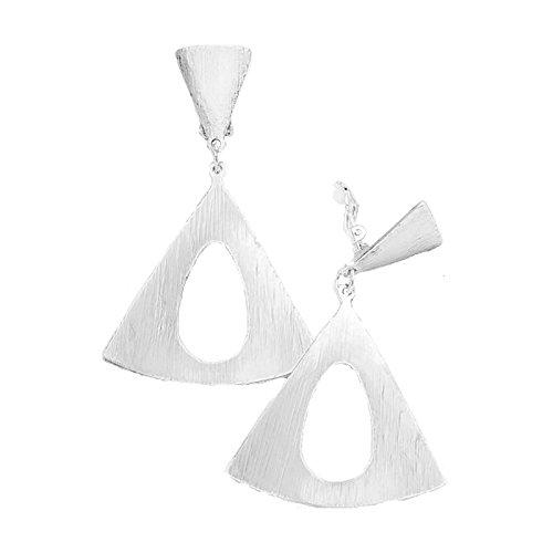 Schmuckanthony Trendige Lange Creolen Kreolen Ohrclips Clips Clip Ohrringe Silber gerippt 7cm lang (Gerippt Trendige)
