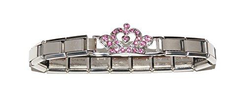 Corona con pietre rosa per bracciale, lettera b): 9 mm Italiano-Bracciale per Zoppini Talexia Nomination pendenti, stile E