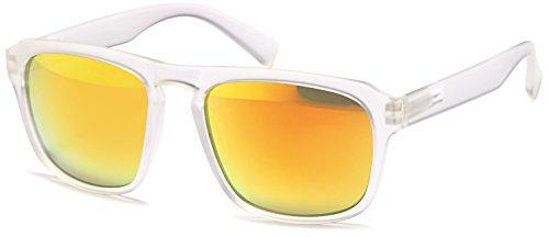 Vintage Sonnenbrille im angesagten Wayfarer Style mit verspiegelten Revo-Gläsern Brillentrends 2015 (transparent/orange verspiegelt)