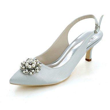 Wuyulunbi@ Scarpe donna raso Primavera Estate della pompa base scarpe matrimonio Punta imitazione di strass perla per il ricevimento di nozze e la sera. Argento