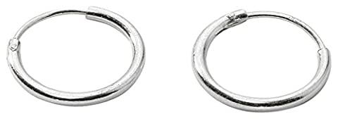 Sterling Silver Small Endless Hoop Earrings for Cartilage, Nose and Lips, 3/8 Inch (10mm)