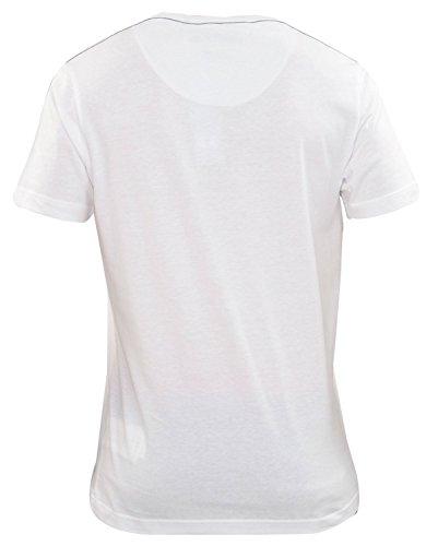 Neue Mens Designer Firetrap T Shirt Kurzarm gedruckten T-Shirt Marken-lässige Tops OLNEY-White