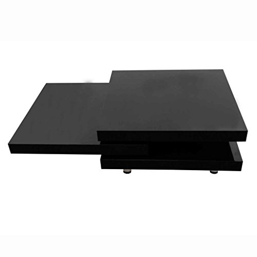 vidaXL Table Basse Noir Laqué Carrée Pivotante 3 Plateaux Tables d'Appoint