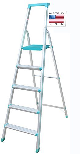 [ USA Best seller ] Euro Pro Household Aluminium Step ladder 5 Steps - Made in USA - Folding - Tool Tray - ABS Platform - Ultra Light Weight  available at amazon for Rs.3980