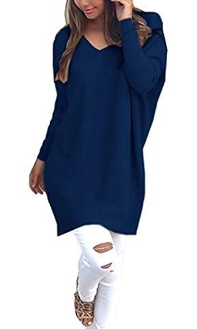 Minetom Femmes Automne Vrac Lâche Blouse Pull Tricots Col V Manches Longues Casual Cavalier Pullover Hauts Chemisier Bleu foncé FR 42