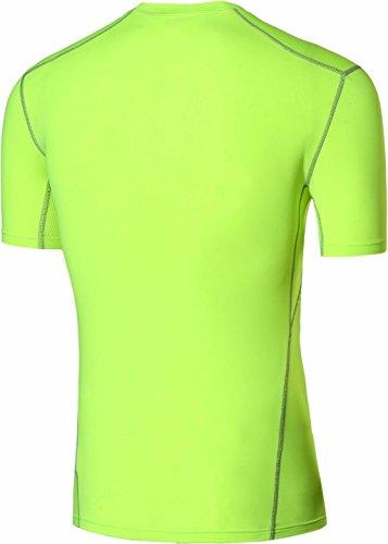 jeansian Uomo Attillati Felpa Formazione Fitness la Maglietta Muscle Training Workout T-shirt Tight Sport Suit SMF015 GreenYellow