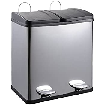 50 liter edelstahl m lleimer m lltrennung k che haushalt. Black Bedroom Furniture Sets. Home Design Ideas