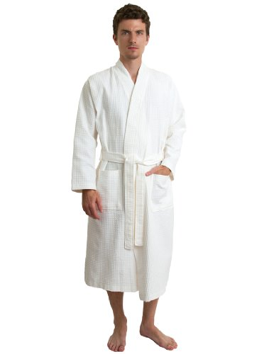 TowelSelections Herren-Bademantel aus türkischer Baumwolle, Waffelmuster, hergestellt in der Türkei - Elfenbein - Large/X-Large -