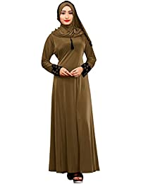 Justkartit Women's Dark Beige Color Velvet Embosed Lycra Abaya Burkha