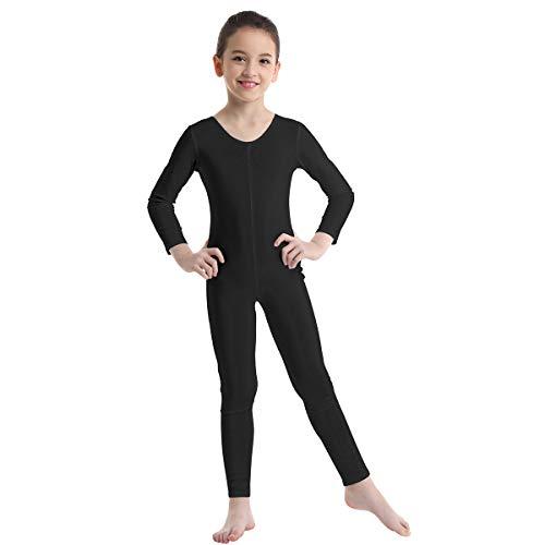 Agoky Unisex Mädchen Jungen Basic Ganzkörperanzug Einteiler Schlafanzug Jumpsuit Kostüm Ballettanzug Overall Langarm Body Schwarz 140-152/10-12 Jahre
