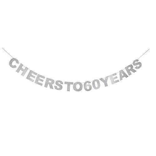 waway Cheers to 60Geburtstag Banner Silber Glitzer Herz für 60. Jahrestag 60Jahre Alt Geburtstag Party Dekoration Supplies