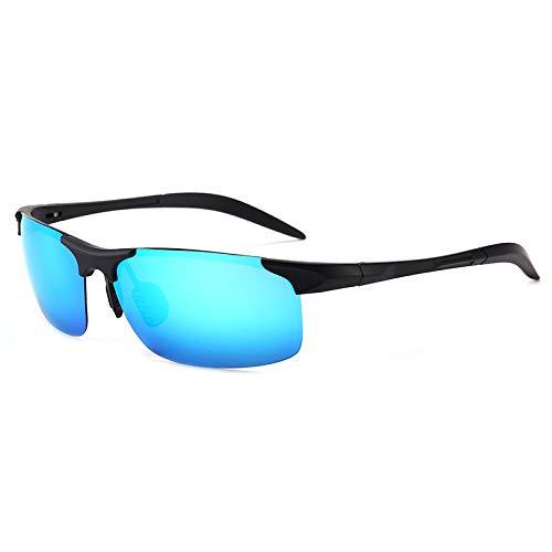 LKVNHP Hohe Qualität Übergroßen Herren Polarisierte Sonnenbrille Fahren Sonnenbrille Für Mann Tag Nacht Gespiegelt Blendschutz Reflexion Uv400 BrilleBlau