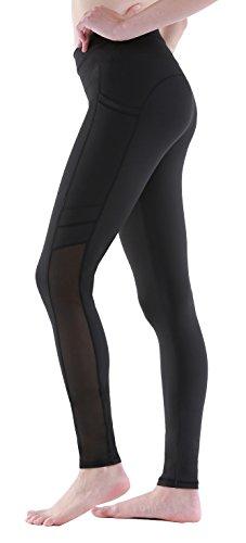 Sudawave Damen Mesh 7/8 Yoga Hose Aktive Leggings mit Tasche für Laufen Fitness Gym Sport usw … (Medium, Schwarz(Lang)) (Shorts Yoga Laufen)