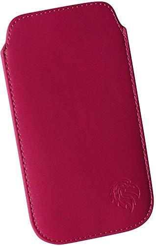 Schutz-Tasche passend fuer Samsung Galaxy Note 2, 3 und 4, Pull-tab Handy-Huelle herausziehbar, Etui genaeht mit Rausziehband, duenne Tasche mit exklusivem Motiv Adler XL Dunkel-Pink - Wallet Note 3 Case Leather Galaxy