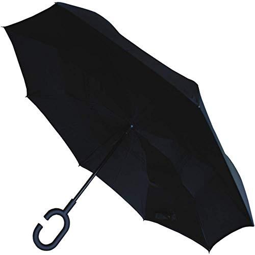 Collar and cuffs london - ombrello inverso - extra robustoantivento- struttura rinforzata con fibra di vetro - doppio strato - alla rovescia inversa - reversibile reverse - nero