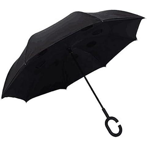 CNMKLM Sombrilla doble paraguas-generación inversa sin Auto reversa el paraguas plegable paraguas,Carmine