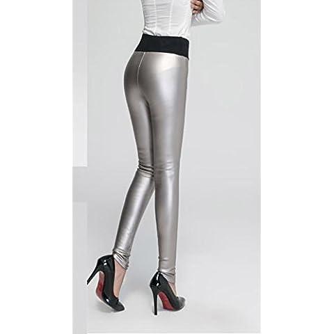 Pantacollant e leggings di velluto ispessimento caldo a invernali donna uno PU leather pants , b , xl