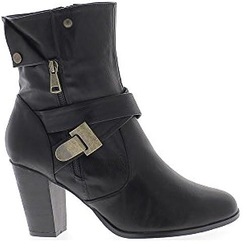 Botas negras mujer alta tamaño tacón 9,5 cm de piel con bridas