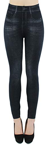 Damen Thermo Leggings Thermohose mit Innenfutter - WL027 (40/42 - L/XL, WL082-Schwarz)