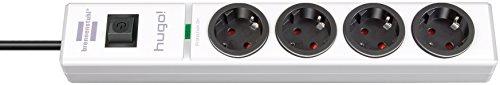 Brennenstuhl hugo! Steckdosenleiste 4-fach mit Überspannungsschutz (2m Kabel und Schalter, Gehäuse aus bruchfestem Polycarbonat) Farbe: weiß