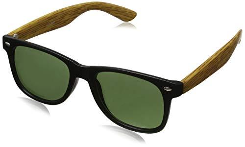 Cheapass Sonnenbrille Schwarz Grün-e Linsen Eckig UV-400 Designer-Brille Plastik Damen Herren