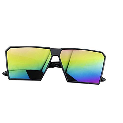 Timlatte Große Rahmen Retro-Sonnenbrille Retro-Platz Brillen Männer Jungen Frauen Mädchen Brillen Street UV400 Helle Schwarze Bunte Linse one Size