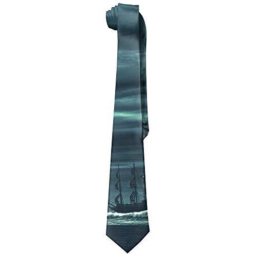 Ocean Storm Pirate Ship of Sea Polyester Neckwear Silk Neck Tie, Men's Classic Neckties,Graduation Meeting Business Casual Skinny Ties