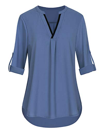 SOLERSUN V-Ausschnitt Blusen für Frauen, Damen 3/4 Cuffed Sleeve Top Frauen Loose Fit Chiffon Tunika Tops Blau S