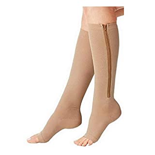 ACMEDE Compression Socks with Open Toe Leg Support Stocking Knee High with Zipper 15-20 mmHg?Best for Flight and Travel - Varicose and Spider Veins Prevention, Swelling Reduction 2 Pairs S/M (2-8 UK)